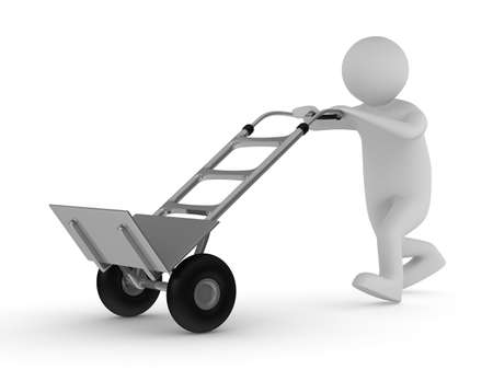 traction device: hand truck on white background. Isolated 3D image