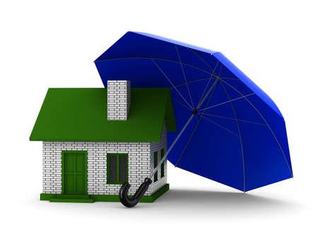 Insurance of habitation. Isolated 3D image on white background photo