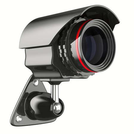 白い背景の上のセキュリティ カメラ。分離の 3 D イメージ