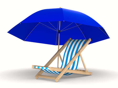settee: Deckchair and parasol on white background. Isolated 3D image