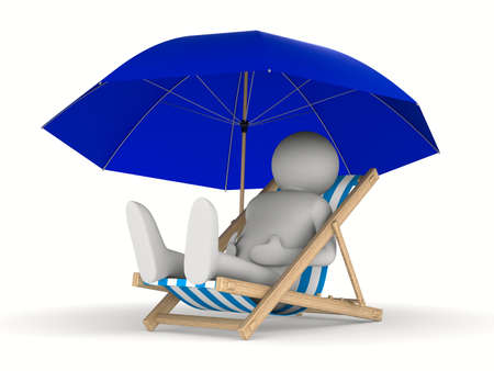 Deckchair and parasol on white background. Isolated 3D image Stock Photo - 9250009