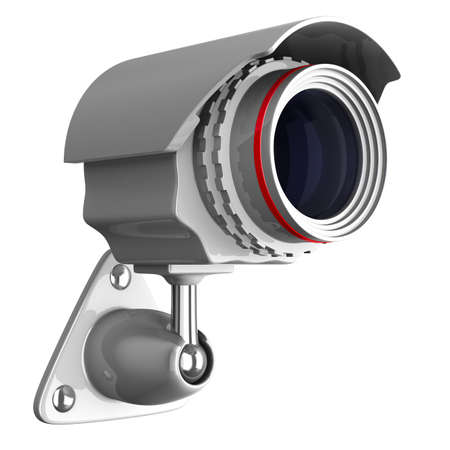 alarm system: security camera on white background. Isolated 3D image