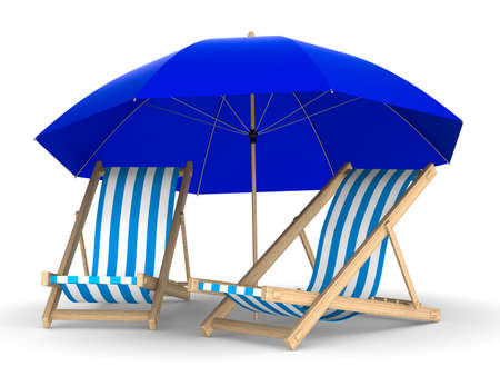settee: Two deckchair and parasol on white background. Isolated 3D image Stock Photo