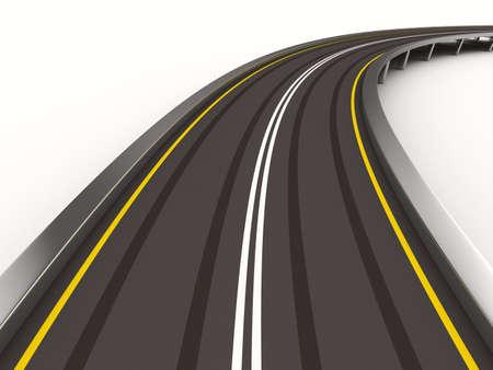 白のアスファルトで舗装された道路分離の 3 D イメージ 写真素材