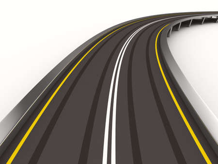 aspirational: asphalted road on white. Isolated 3D image