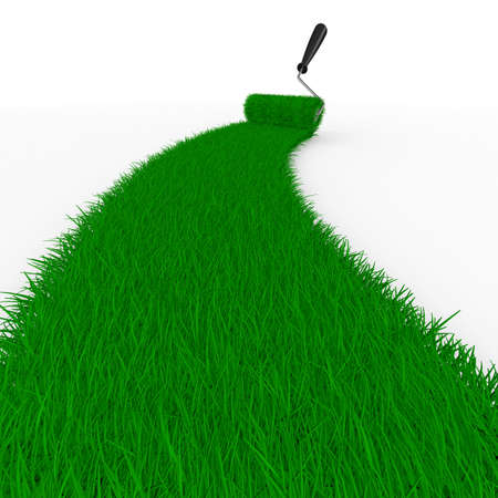 grassy: road from grass on white. Isolated 3D image Stock Photo