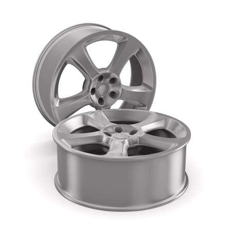 Two disk wheel on white background. Isolated 3D image photo