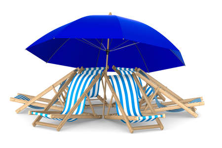 Six deckchair and parasol on white background. Isolated 3D image photo