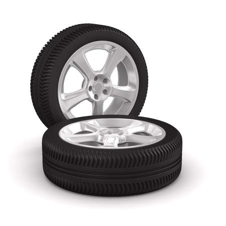 two wheel: Two disk wheel on white background. Isolated 3D image