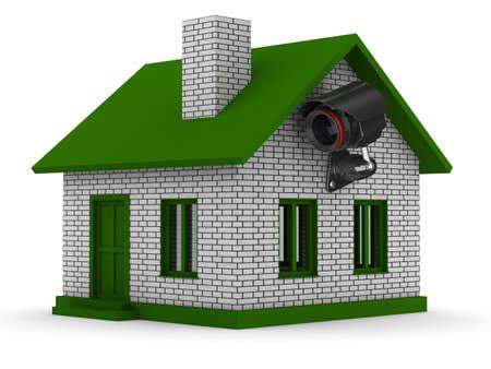 家のセキュリティ カメラ。分離の 3 D イメージ