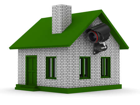 cctv security: security camera on house. Isolated 3D image