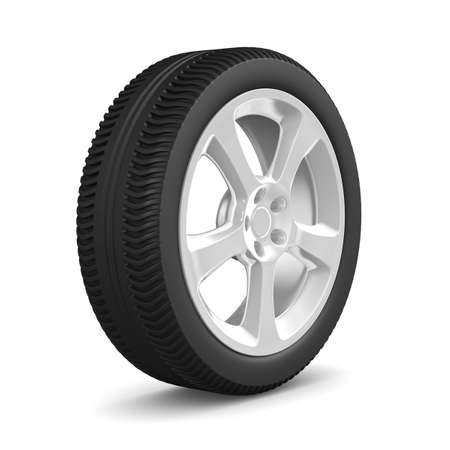 alloy wheel: disk wheel on white background. Isolated 3D image