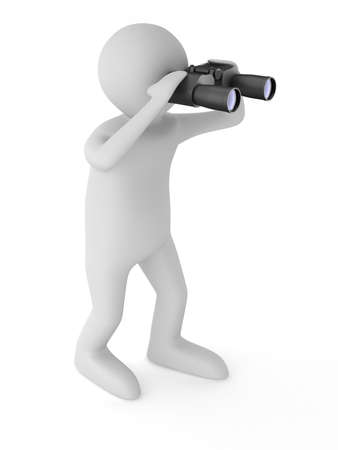 observation: man with binocular on white background. Isolated 3d image