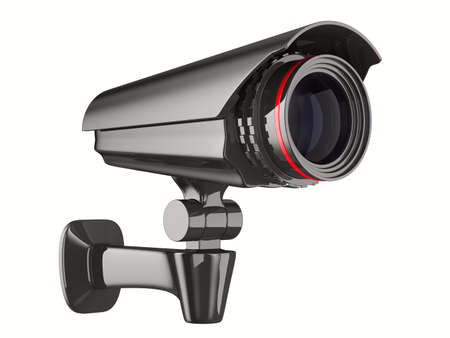 cctv security: security camera on white background. Isolated 3D image
