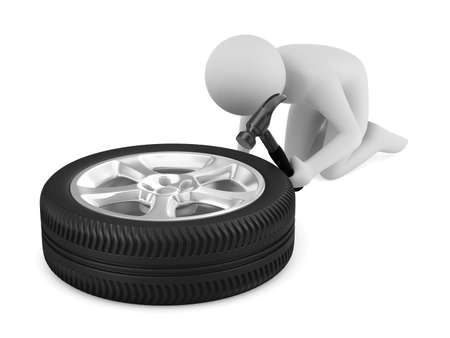 car fix: man repairs wheel. Isolated 3D image