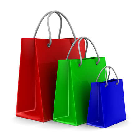 Three shoping bags on white. Isolated 3D image Stock Photo - 9336350