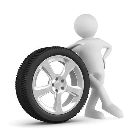 llantas: hombre con disco rueda sobre fondo blanco. Imagen aislados 3D