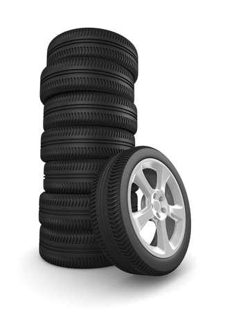 Nine disk wheel on white background. Isolated 3D image Stock Photo - 9336382