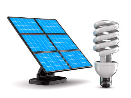 solar battery and bulb on white background. Isolated 3d image  photo