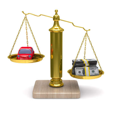 car and cashes on scales. Isolated 3D image photo