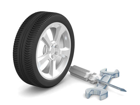alloy wheel: Car-care centre on white background. Isolated 3D image