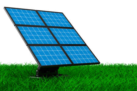 photovoltaic cell: solar battery on grass. Isolated 3d image  Stock Photo