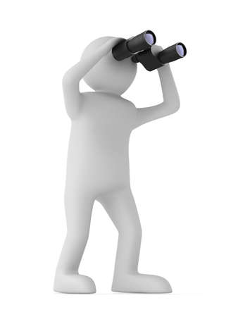 man with binocular on white background. Isolated 3d image Stock Photo - 9336347