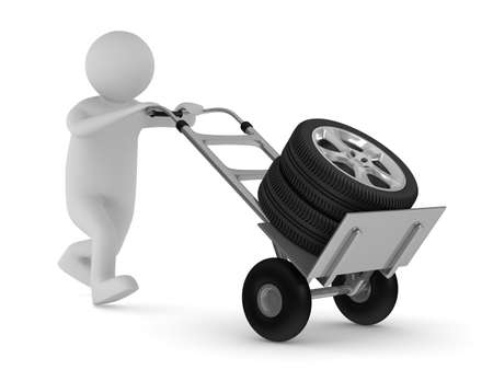 tyre on hand truck. Isolated 3D image Stock Photo - 9336336