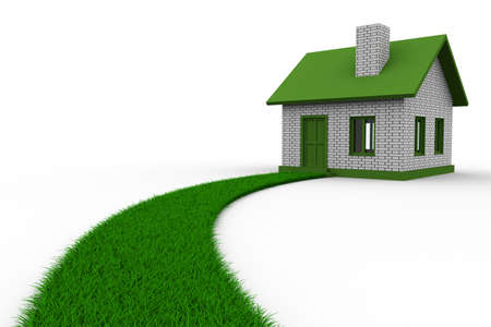 Road to house from grass. Isolated 3D image Stock Photo - 9336392