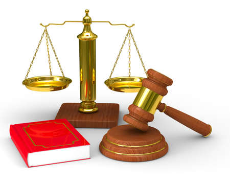 scales of justice: Scales justice and hammer on white background. Isolated 3D image Stock Photo