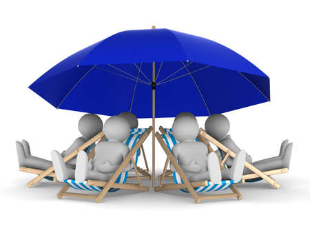 lazy: people rest under parasol. Isolated 3D image