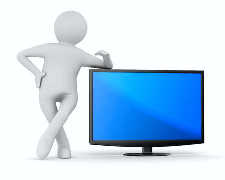 TV and man on white background. Isolated 3D image photo