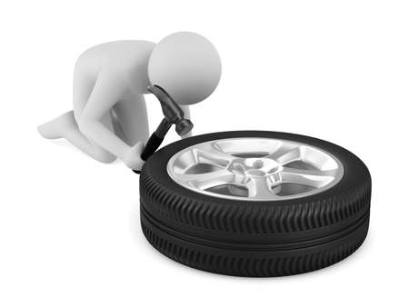 man repairs wheel. Isolated 3D image photo