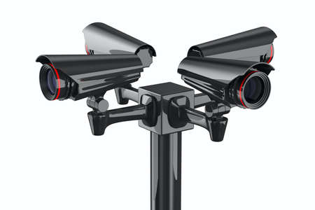 monitoring system: Four security camera on white background. Isolated 3D image