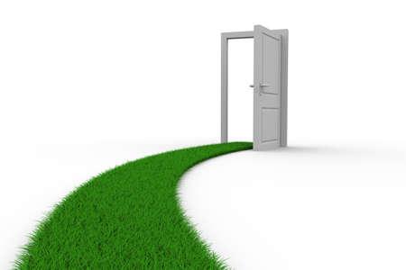 草からドアへの道。分離の 3 D イメージ