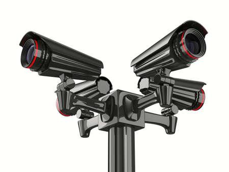 白い背景の上の 4 つのセキュリティ カメラ。分離の 3 D イメージ