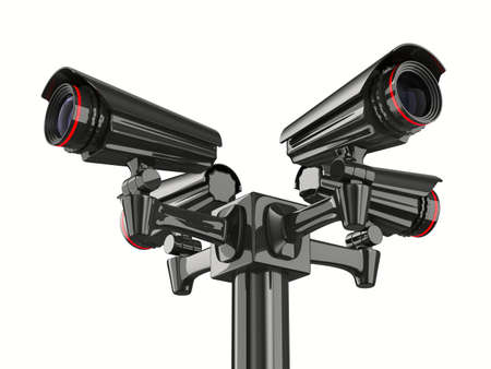security monitor: Four security camera on white background. Isolated 3D image