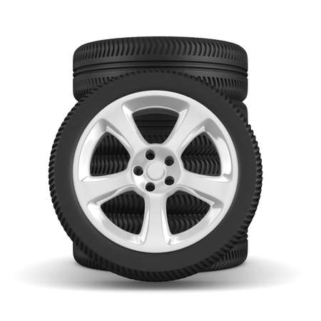 Five disk wheel on white background. Isolated 3D image photo