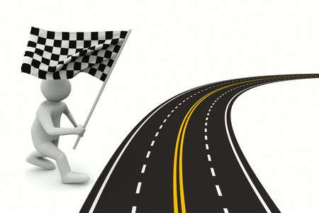 arbitrator: strada asfaltata su bianco. Immagine 3D isolato Archivio Fotografico
