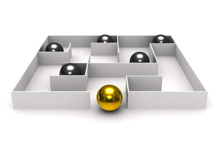 balls in labyrinth on white background. Isolated 3D image photo