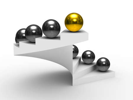 sphere standing: leadership concept on white background. Isolated 3D image