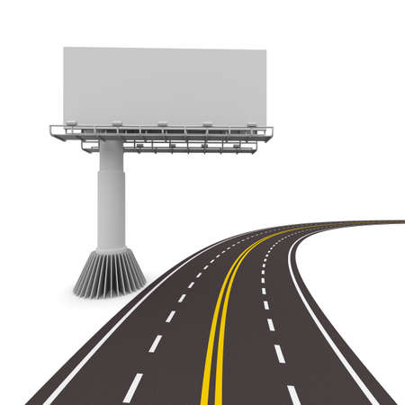 asphalted road with billboard. Isolated 3D image photo