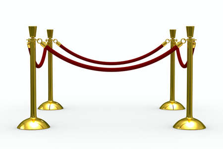 velvet rope barrier: Gold stanchions on white background. Isolated 3D image