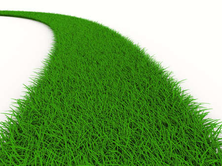 road from grass on white. Isolated 3D image Banque d'images