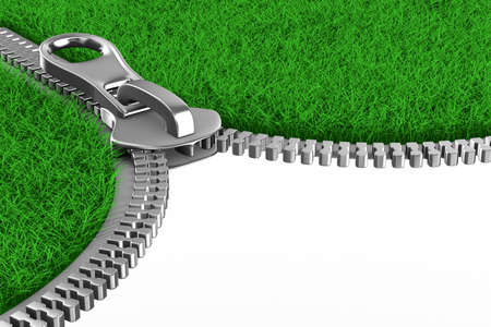 zip: Zipper with grass on white background. Isolated 3D image Stock Photo