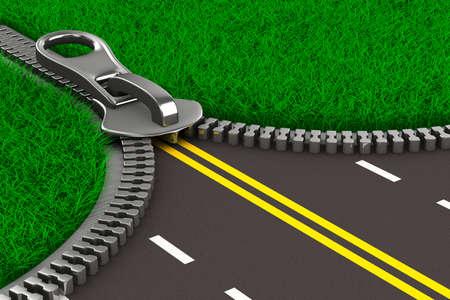 草や道路のジッパー。分離の 3 D イメージ