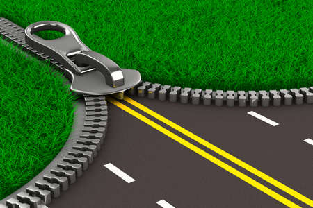 open road: Zipper with grass and road. Isolated 3D image