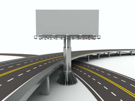 motorway: asphalted road with billboard. Isolated 3D image