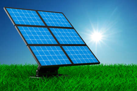 electric cell: solar battery on grass. Isolated 3d image  Stock Photo