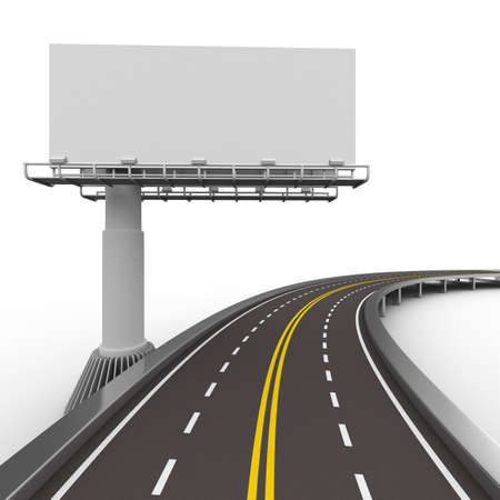 highway sign: asphalted road with billboard. Isolated 3D image